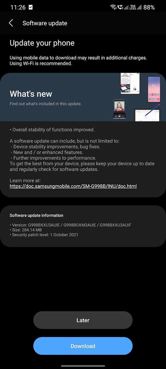 Galaxy S21 October 2021 Update